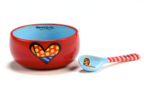 ROMERO BRITTO BOWL & SPOON- HEART 2PC SET