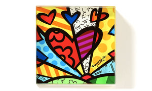 ROMERO BRITTO SQUARE GLASS PAPERWEIGHT- A NEW DAY