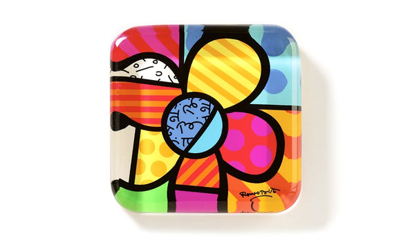 ROMERO BRITTO GLASS PAPERWEIGHT- FLOWERS