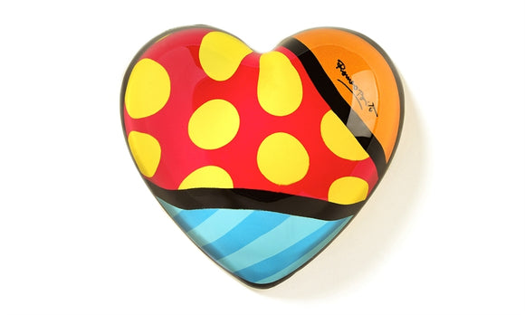 ROMERO BRITTO GLASS HEART PAPERWEIGHT- YELLOW DOTS