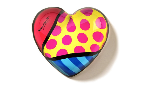 ROMERO BRITTO GLASS HEART PAPERWEIGHT- PINK DOTS WITH YELLOW