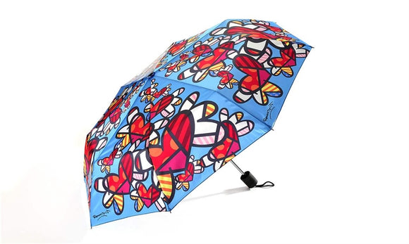 ROMERO BRITTO TRAVEL UMBRELLA- FLYING HEARTS DESIGN