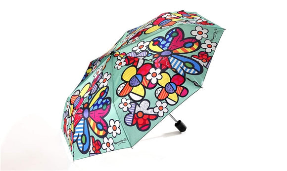 ROMERO BRITTO TRAVEL UMBRELLA-  FLOWERS AND BUTTERFLIES DESIGN