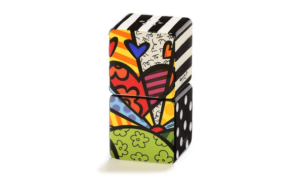 ROMERO BRITTO CERAMIC STACKING SALT & PEPPER SHAKERS- A NEW DAY DESIGN
