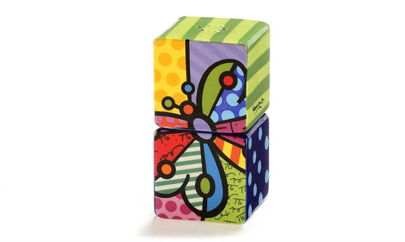ROMERO BRITTO CERAMIC STACKING SALT & PEPPER SHAKERS- BUTTERFLY DESIGN