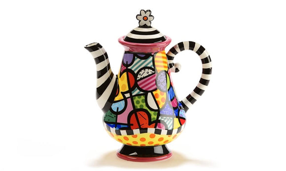 Romero Britto Ceramic Flower Design Teapot