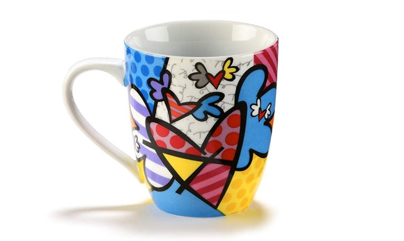 ROMERO BRITTO PORCELAIN MUG- FLYING HEARTS DESIGN