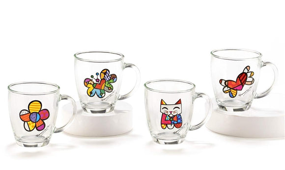 ROMERO BRITTO GLASS MUGS W/VINYL DECALS ASSORTMENT SET OF 4
