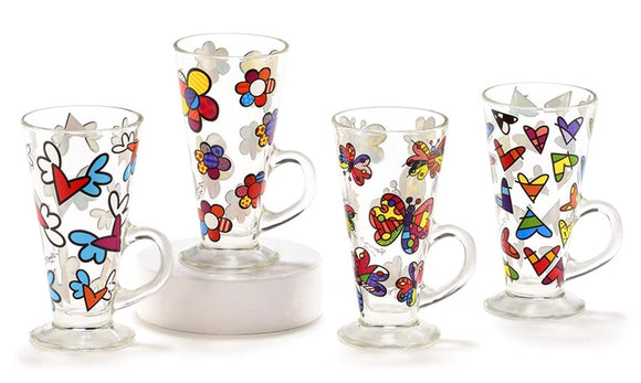 ROMERO BRITTO GLASS LATTE MUGS W/VINYL DECALS ASSORTMENT SET OF 4