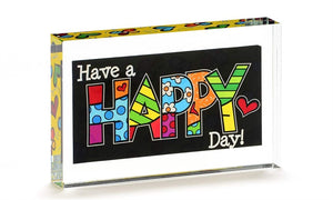ROMERO BRITTO DOUBLE SIDED GLASS BLOCK- HAPPY DAY
