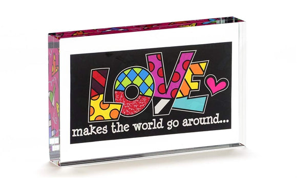 ROMERO BRITTO DOUBLE SIDED GLASS BLOCK- LOVE SAYING