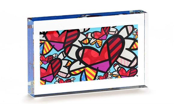 ROMERO BRITTO DOUBLE SIDED GLASS BLOCK- FLYING HEARTS DESIGN
