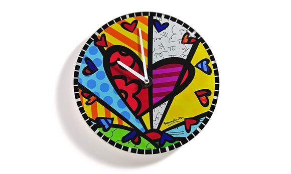 ROMERO BRITTO ROUND GLASS WALL CLOCK- A NEW DAY DESIGN