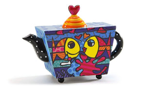 "ROMERO BRITTO DECORATIVE MINI TEAPOT FIGURINE- ""DEEPLY IN LOVE"" FISH DESIGN"