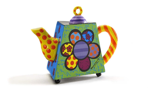 ROMERO BRITTO DECORATIVE MINI TEAPOT FIGURINE- FLOWER DESIGN