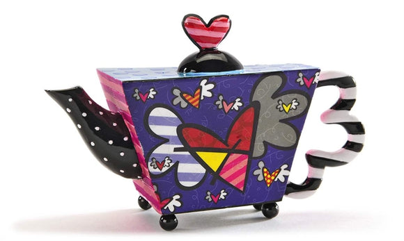ROMERO BRITTO DECORATIVE MINI TEAPOT FIGURINE- FLYING HEARTS DESIGN