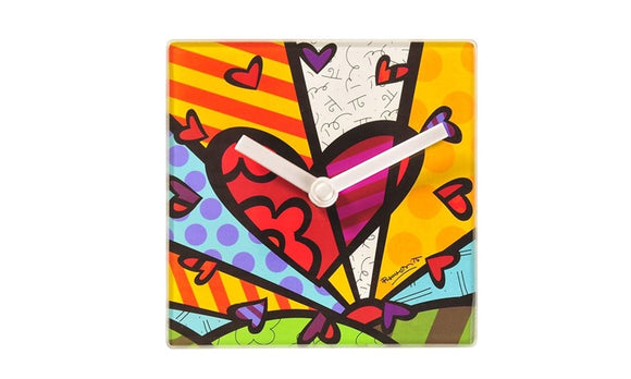 Romero Britto Square Glass Clock w/ Stand- New Day Design