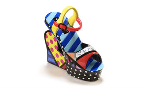 Romero Britto Miniature Shoe Figurine- Wedge Sandal