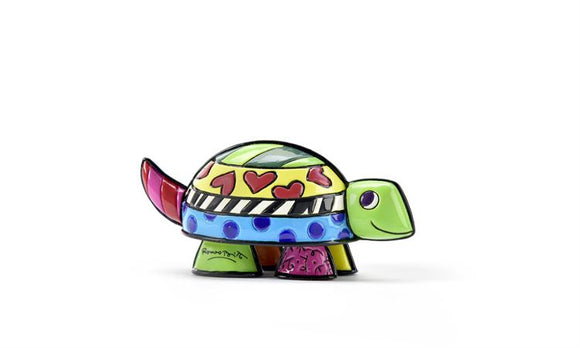 ROMERO BRITTO MINIATURE TURTLE WITH HEARTS FIGURINE