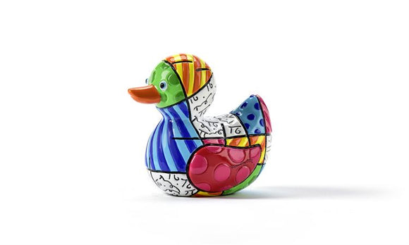 ROMERO BRITTO MINIATURE DUCK FIGURINE- GRAPHIC PATTERN DESIGN