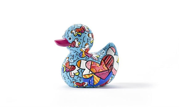 ROMERO BRITTO MINIATURE DUCK FIGURINE- FLYING HEARTS DESIGN