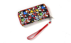 Romero Britto Wristlet Clutch & Coin Pouch 2pc. Set- Hearts Design
