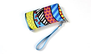 Romero Britto Wristlet Clutch & Coin Pouch 2pc.Set- Graphics Pattern Design