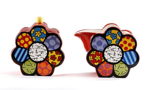 Romero Britto Ceramic Flower Design Creamer & Sugar Set of 2