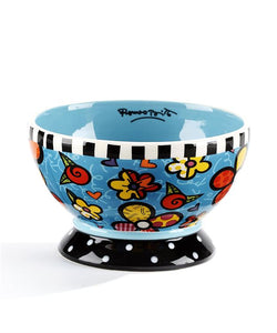 Romero Britto Ceramic Flowers Design Bowl