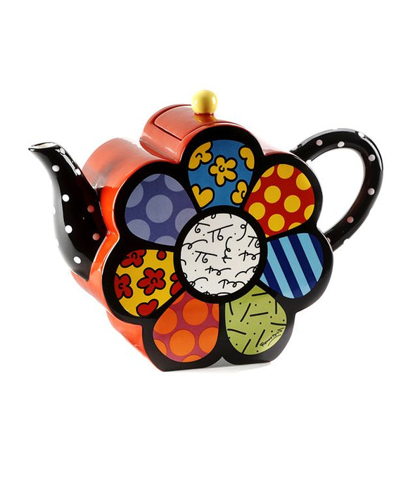 Romero Britto Ceramic Flower Shaped Teapot