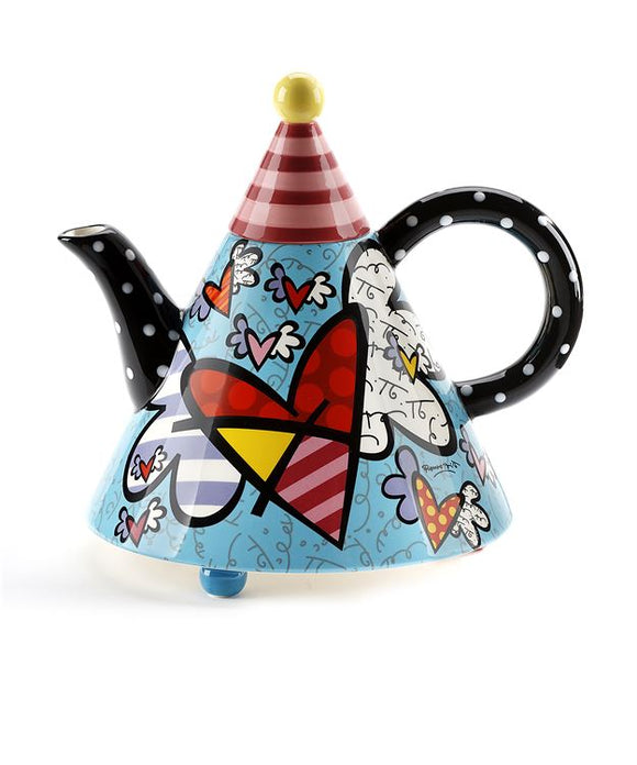 Romero Britto Ceramic Triangular Shaped Flying Hearts Teapot