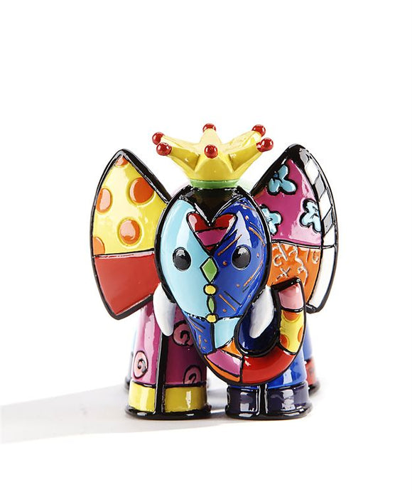 Romero Britto Mini/ Miniature 3D Figurine- Elephant With Yellow Crown