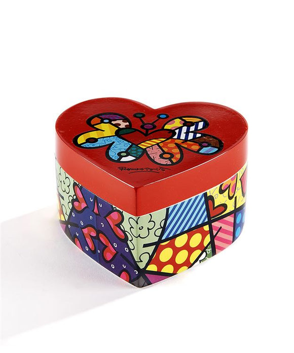 Romero Britto Heart Shaped Keepsake Trinket Box with Butterfly & Graphic Designs