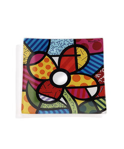 Romero Britto Glass Plate- Flower Design