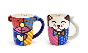 Romero Britto Bear & Cat Design Mugs Set of 2