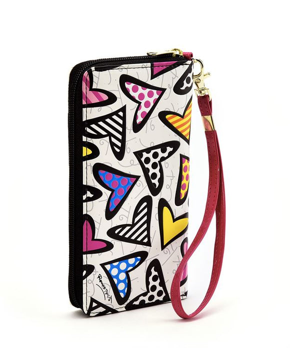 ROMERO BRITTO HEART DESIGN WHITE WALLET