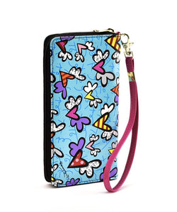 ROMERO BRITTO FLYING HEART DESIGN BLUE WALLET