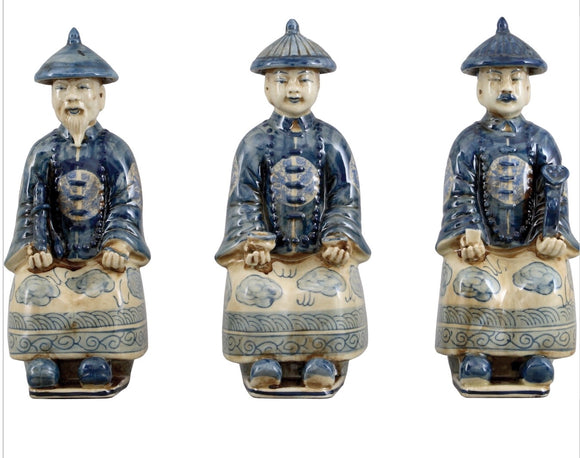 Oriental Qing Blue & White Porcelain Royal Figurines Set of 3