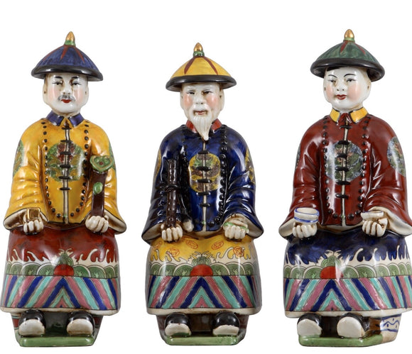 Oriental Qing Colored Royal Asian Figurines Set of 3