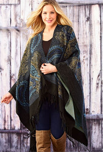 CHARLIE PAIGE PAISLEY CAPE WITH FRINGE IN BLUE, ONE SIZE