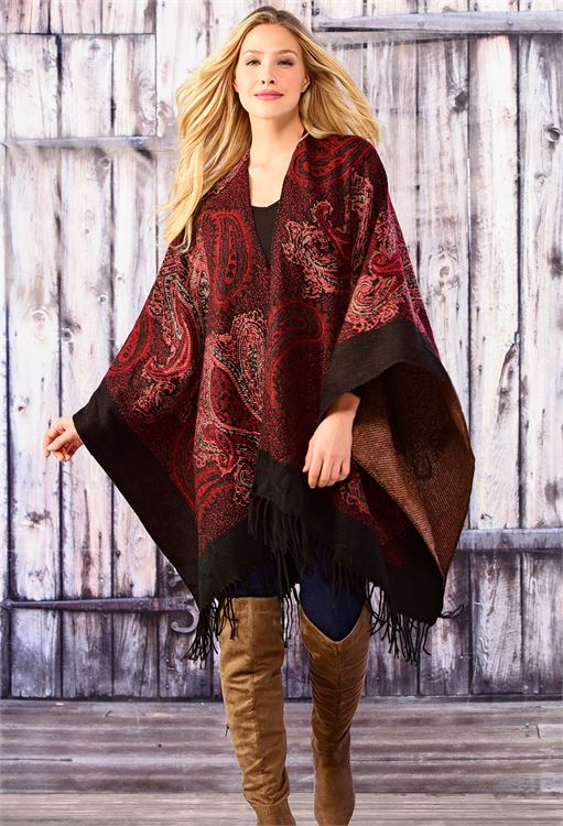 CHARLIE PAIGE PAISLEY CAPE WITH FRINGE IN WINE, ONE SIZE