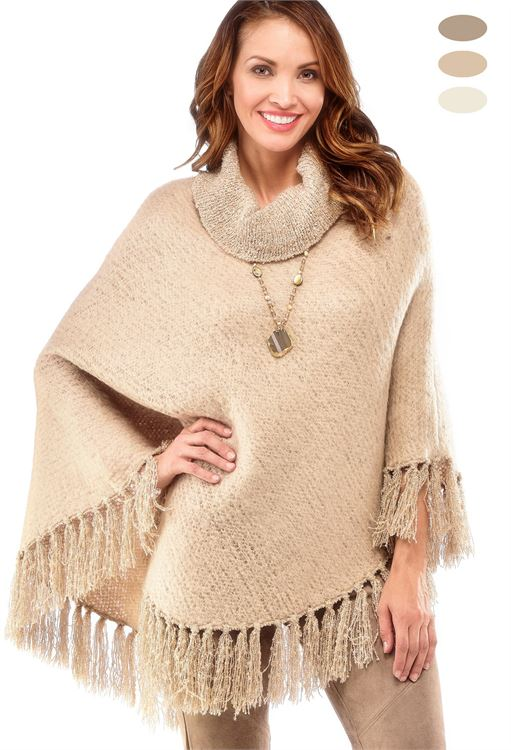 CHARLIE PAIGE BRUSHED BOUCLE PONCHO IN OATMEAL, ONE SIZE