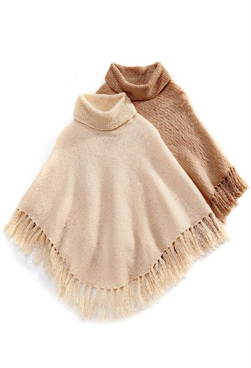 CHARLIE PAIGE BRUSHED BOUCLE PONCHO IN KHAKI, ONE SIZE