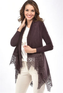 CHARLIE PAIGE LACE HEM CARDIGAN IN SHALE GREY SIZE: MEDIUM