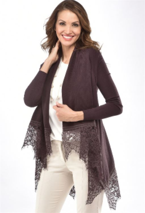 CHARLIE PAIGE LACE HEM CARDIGAN IN SHALE GREY SIZE: LARGE