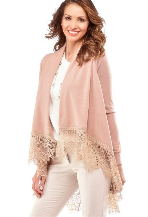 CHARLIE PAIGE LACE HEM CARDIGAN IN DUSTY ROSE SIZE: SMALL