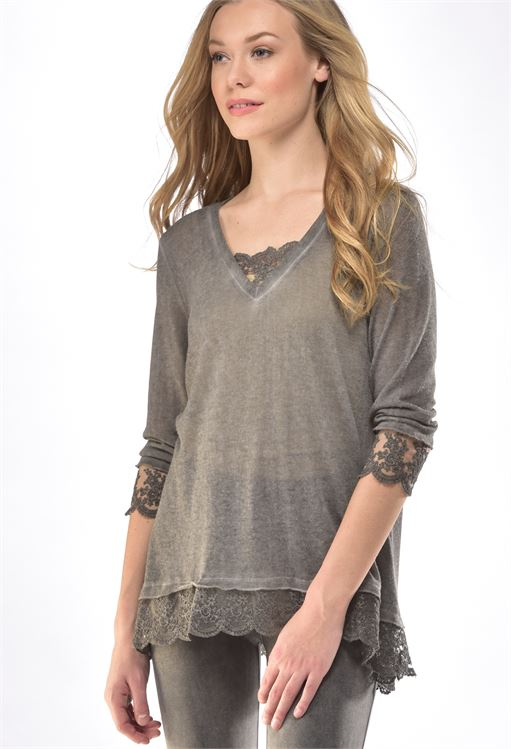CHARLIE PAIGE KNIT TOP WITH LACE IN GREY SIZE SMALL/MEDIUM