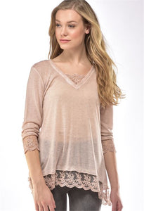 CHARLIE PAIGE KNIT TOP WITH LACE IN PINK SIZE LARGE/X-LARGE
