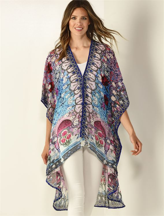 CHARLIE PAIGE EMBELLISHED PRINTED KIMONO IN BLUE