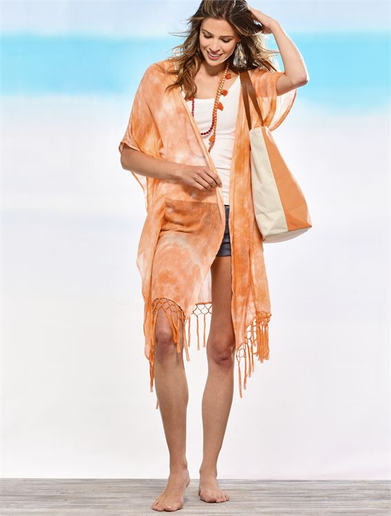 CHARLIE PAIGE TIE-DYED FRINGE CAPE IN PERSIMMON ORANGE